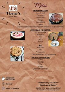 Flomar's Desserts menu delivering in the Chirripo Valley area